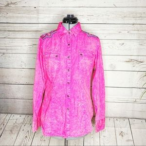 Rock & Roll Cowgirl Western Pearl Pink Embroidered